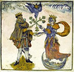 King and Queen personify the solar and lunar forces from the Rosarium Philosophorum