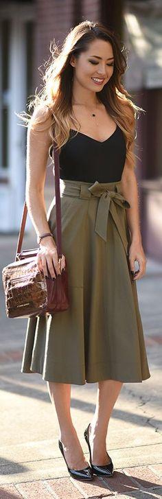 Army Green Stretch-denim Skirt Fall Inspo by Hapa Time