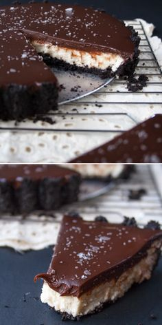 NO-BAKE CHOCOLATE MASCARPONE TART. Oreo cookie crust with a melt-in-your-mouth mascarpone cream filling and topped with salted chocolate gan...