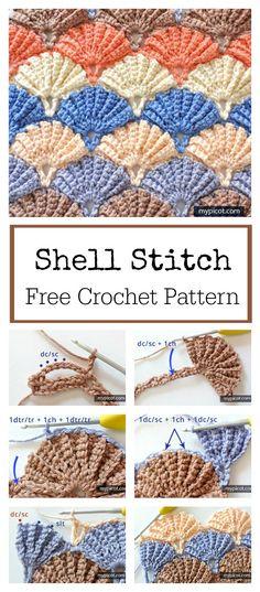 Beautiful Shell Stitch Free Crochet Pattern Easy Crochet, Crochet Stitches Free, Crochet Stitch Tutorial, Free Crochet Patterns For Beginners, Free Crochet Blanket Patterns, Crochet Shell Blanket, Crochet Stitches For Blankets, Beginner Sewing Patterns, Beginner Crochet Projects