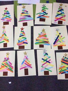 Árbol navidad con tiras de papel