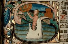 15th century initial from the Ranworth Antiphonal.  The image depicts Jonah appearing from the belly of the whale after he had spent three days there.