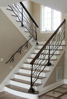 Indoor stair railing & Measuring the length of the stairs along the adjacent wall. Cut stair railings about 6 inches& The post Indoor Stair Railing Installation appeared first on LIVELIHOOD TECHNOLOGY DECOR. Indoor Railing, Modern Stair Railing, Wrought Iron Stair Railing, Stair Railing Design, Metal Stairs, Staircase Railings, Modern Stairs, Banisters, Staircases