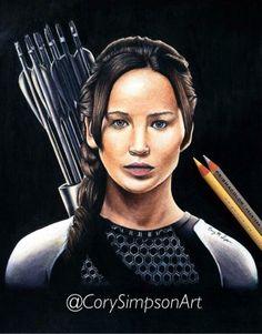 Katniss Everdeen drawing by @CorySimpsonArt