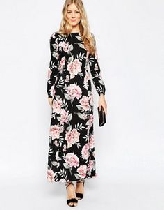 ASOS Floral Maxi Dress With Tie Front