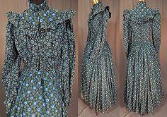 Victorian-Indigo-Blue-Print-Cotton-Calico-Morning-Wrapper-Womens-Workwear-Dress