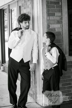 Father son wedding photo, black and white, groom and son
