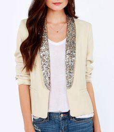 White blazer with glitter lapel