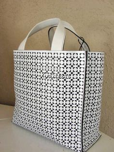 NWT FURLA DIVIDE IT SAFFIANO LEATHER BAG BLACK & WHITE~MADE IN ITALY