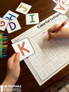 Find the matching letter. Trace it to match the color on the card.