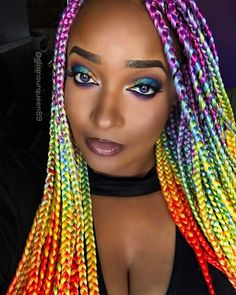 37 Best Colorful Bold Rainbow Braids images in 2019