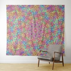 Techno Colors Vintage Kaleidoscope Wall Tapestry - fun gifts funny diy customize personal
