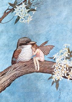 'Fairy and Bird Embracing' by Australian children's books illustrator Ida Rentoul Outhwaite (1888-1960). One of the great illustrators of fairies; this sweet image the friendship between the fairies and their animal friends is beautifully depicted.