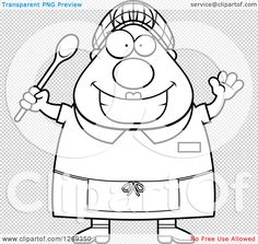 Clipart-Of-A-Black-And-White-Cartoon-Chubby-Happy-Lunch-Lady-Waving-And-Holding-A-Spoon-Royalty-Free-Vector-Illustration-10241269350.jpg (1080×1024)