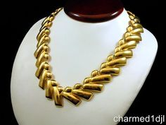 Vintage Shiny Gold Tone V Style Collar Necklace Toggle Clasp CA 1980's No Stone #Unbranded #Collar SOLD