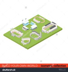 Flat 3d Isometric Sport Stadium Ground Playground Building Block Infographic Concept. Soccer American Football Tennis Baseball Rugby. Build Your Own Infographics World Collection. Illustration vectorielle libre de droits 321117680 : Shutterstock