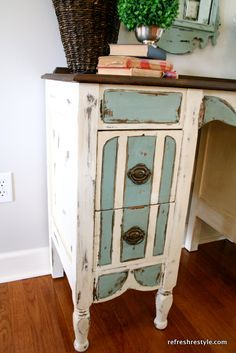 DIY Desk Makeover - Projects like this would be more work, but a fun, less expensive option for some of the pieces in the new house.  Could find thrift store or hand-me-down furniture to use.