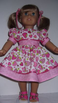 American Girl Doll Clothes  Pink Strawberry by susiestitchit, $16.00