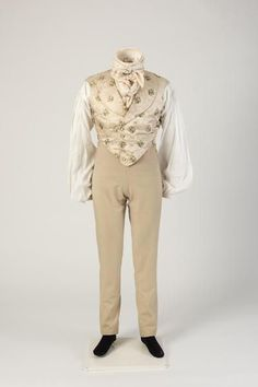 Man's woollen trousers, worn with figured silk waistcoat, 1820s