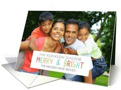 Modern and simple minimalist merry and bright photo christmas holiday card for change of address with colorful text Dreaming Mind Cards