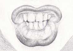 potloodtekening / pencil drawing / mond / mouth / postcard / ansichtkaart