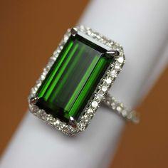 GIA Certified 18k White gold Natural Green Tourmaline & Diamond HALO ring 10.87 #HALO