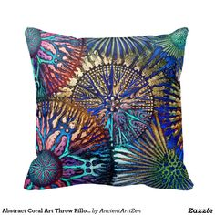 Abstract Coral Art Throw Pillow Cosmic Star Coral see my blog dormdec.blogspot.com for more dorm decor ideas