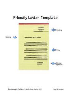 Friendly Letter Template Free  Ella Reinke  Teacherspayteachers