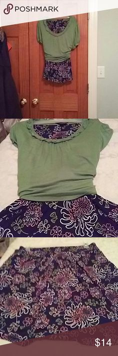"""Adorable skirt w/ free shirt Springy skirt, pleated knee length. Pretty shirt throwing in """"free"""" there is what looks to be a stain as seen in last picture. Washed but did not try stain remover may come out? This would not show if tucked in.... Skirt alone cute, very comfy! George Skirts Skirt Sets"""
