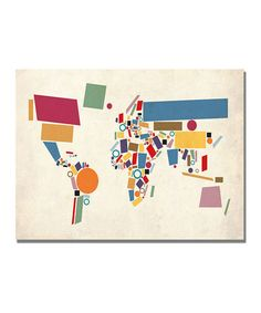 Take a look at this Abstract Shapes World Map Gallery-Wrapped Canvas by Michael Tompsett on #zulily today!