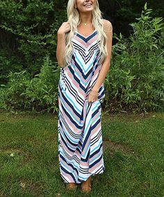 Look at this #zulilyfind! Blue & White Chevron Maxi Dress #zulilyfinds