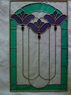 Stained Glass Victorian Panel Three Flowers by WildwindsGlass