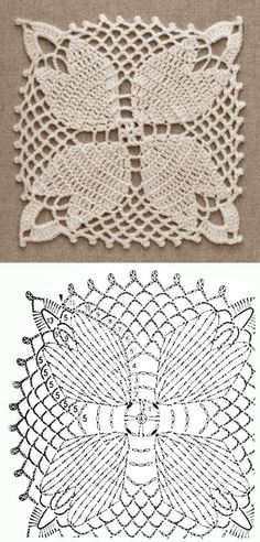 Crochet Motif Patterns, Granny Square Crochet Pattern, Crochet Diagram, Crochet Squares, Crochet Designs, Crochet Art, Thread Crochet, Love Crochet, Crochet Stitches