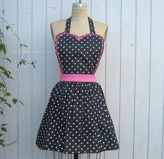ADORABLE retro apron black polka dot vintage style. By loverdoversclothing. $28.
