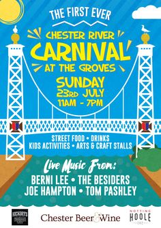 The First Ever River Carnival. Sunday 23rd July 2017 11am to 7pm. Chester River Dee. Live music. Street Food. Drinks. Kids Activities. Arts & Craft Stall. Queens Park Suspension Bridge.