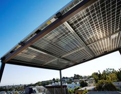 filtered light from solar PV shade - steel frame Diy Generator, Homemade Generator, Grey Water System, Faia, Solar Roof, Los Angeles Homes, Entrance Gates, Sustainable Design, Santa Monica