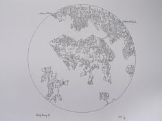 Hong Kong II Original ink map drawing by AbstractCartography on Etsy, $120.00