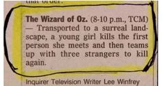 Classic Wizard of Oz synopsis!