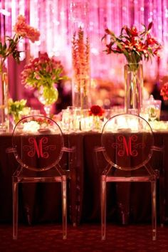 Monogram ghost chairs - very cool