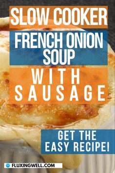 Super simple French Onion Soup With Sausage in the Slow Cooker is an easy, hearty, frugal meal. Perfect to warm up with in chilly weather. Put the simple ingredients in the crock pot and let it cook. Perfect for stretching a grocery budget, especially if you are using onions from your garden. Try this easy recipe today! #bestsouprecipe #crockpotsoup #slowcooker #slowcookersoup #frenchonionsoup #easysoup Easy Salad Recipes, Easy Salads, Easy Healthy Recipes, Easy Dinner Recipes, Soup Recipes, Crock Pot Soup, Slow Cooker Soup, Frugal Meals, Easy Meals