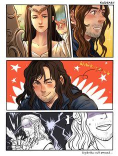 From kadeart ...  Kili, dwarf, The Hobbit, Tolkien, Thorin Oakenshield, Fili, Thorin, elf