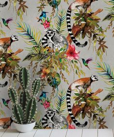 Madagascar Wallpaper Hummingbirds, geckos and lemurs! This tropical metallic wallpaper design is sure to impress. Silver Wallpaper Bathroom, Funky Wallpaper, Hallway Wallpaper, Tier Wallpaper, Tropical Wallpaper, Metallic Wallpaper, Home Wallpaper, Animal Wallpaper, Wallpaper Toilet