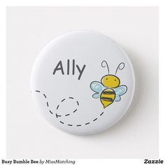 Busy Bumble Bee Kids Name Button