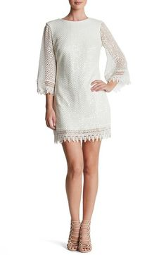 21c91500380 Dress the Population  Phoebe  Sequin Crochet Shift Dress available at   Nordstrom White Sequin