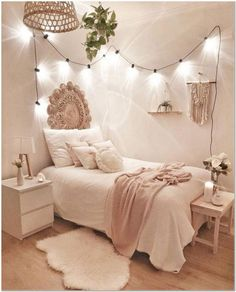 Stick with for the most part white hues and light strings to get a boho bedroom .Thanks for this post.Stick with for the most part white hues and light strings to get a boho bedroom like in this plan! A couple of white flies of # bedroom Girl Bedroom Designs, Room Ideas Bedroom, Bedroom Inspo, Budget Bedroom, Bed Designs, Bedroom Inspiration, Cool Bedroom Ideas, Design Bedroom, Bedroom Styles