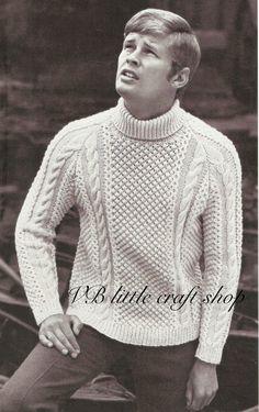Men's aran sweater knitting pattern. Instant PDF download! by VBlittlecraftshop on Etsy