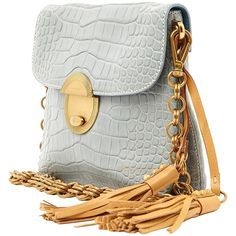 Pale Blue Prada Alligator Tassle Handbag Purse   From a collection of rare vintage shoulder bags at https://www.1stdibs.com/fashion/handbags-purses-bags/shoulder-bags/