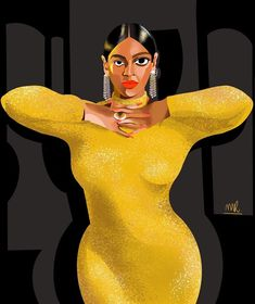 "Magdalena Ròżańska on Instagram: ""Queen 🐝 . . . . . . . . #beyonce #bey #illustration #procreate #curves #artistsoninstagram #fashionicon #icon #cubismo #drawing…"" Beyonce, Instagram Queen, Drawing, Curves, Illustrations, Cubism, Illustration, Sketches, Full Figured"