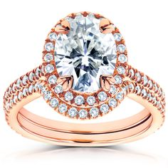 Shop for Annello 14k Rose Gold Oval Moissanite and 1/2ct TDW Diamond Halo 2-Piece Bridal Rings Set (G-H, I1-I2) and more for everyday discount prices at Overstock.com - Your Online Jewelry Store!
