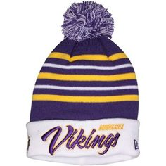 Mens Minnesota Vikings New Era Purple/White Snowfall Stripe Knit Hat